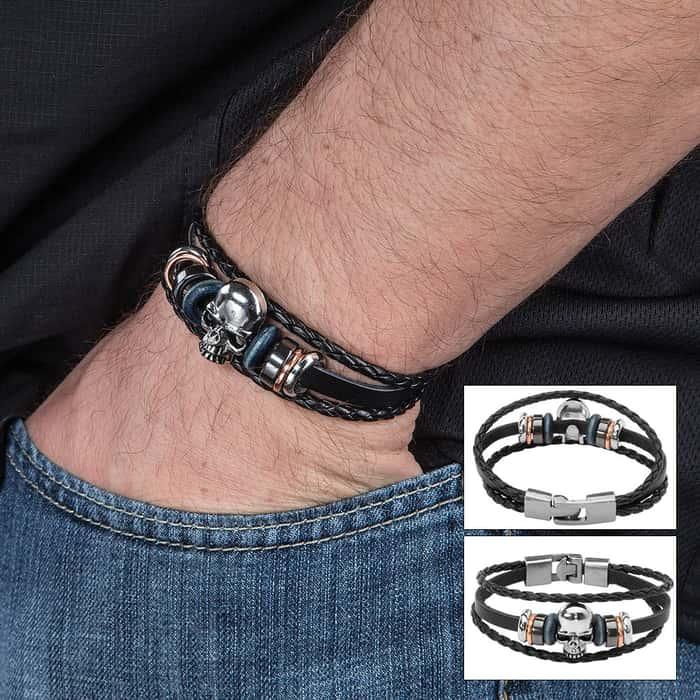 Black Leather Skull Bracelet - Three-strand