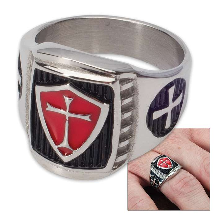 Magnetic Therapy Crusader Ring - Stainless Steel - Sizes 8-11