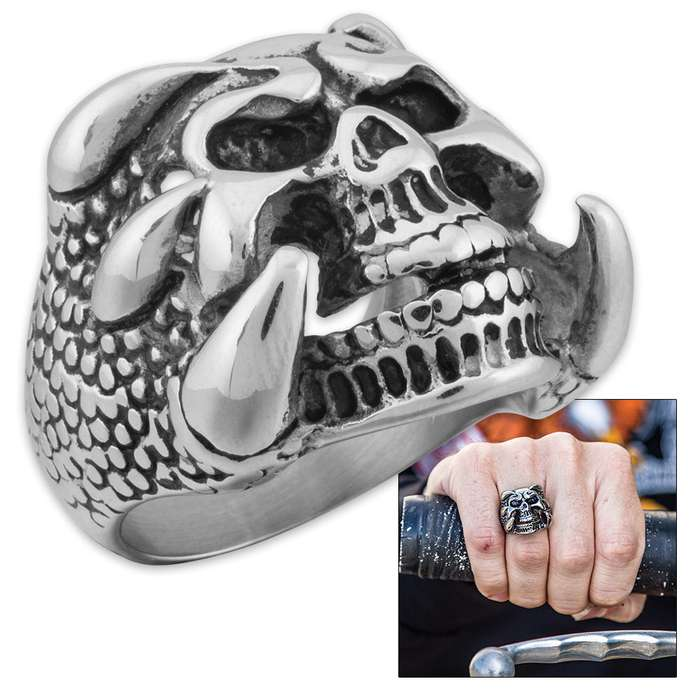 """""""Reptiphobia"""" - Scaly Clawed Hands Grasp Skull - Men's Stainless Steel Ring - Sizes 9-12"""