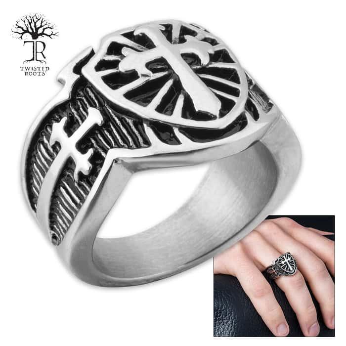 Cross Shield Men's Stainless Steel Ring - Sizes 9-12