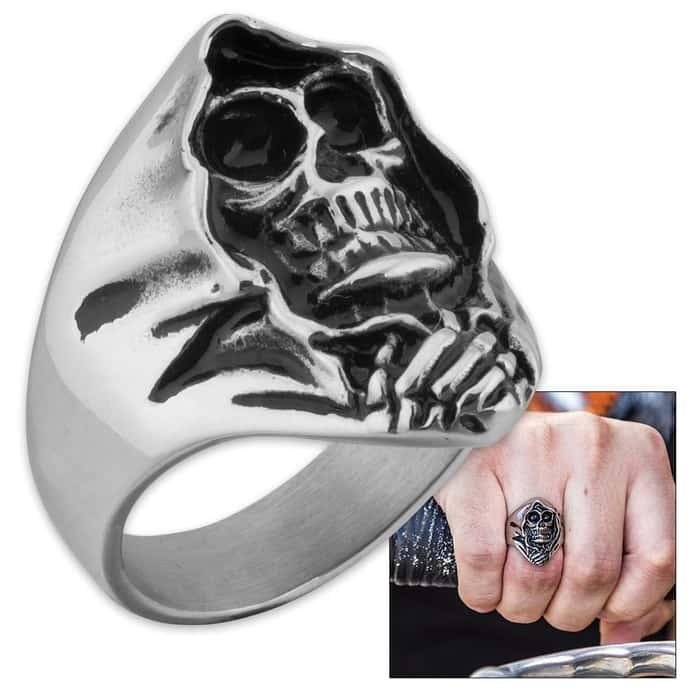 """""""Angel of Death"""" / Grim Reaper Skull Men's Stainless Steel Ring - Sizes 9-12"""