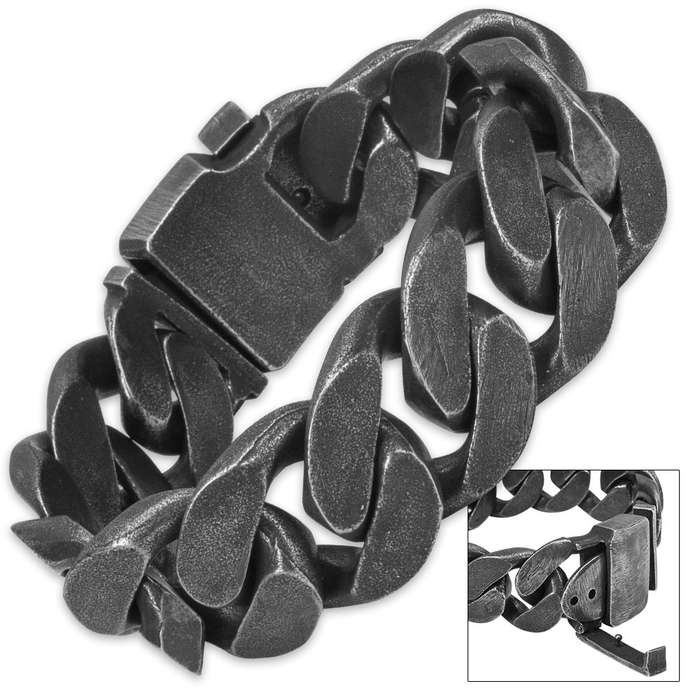 Chains of Perdition - Matte Gray Steel Angled Chain Bracelet