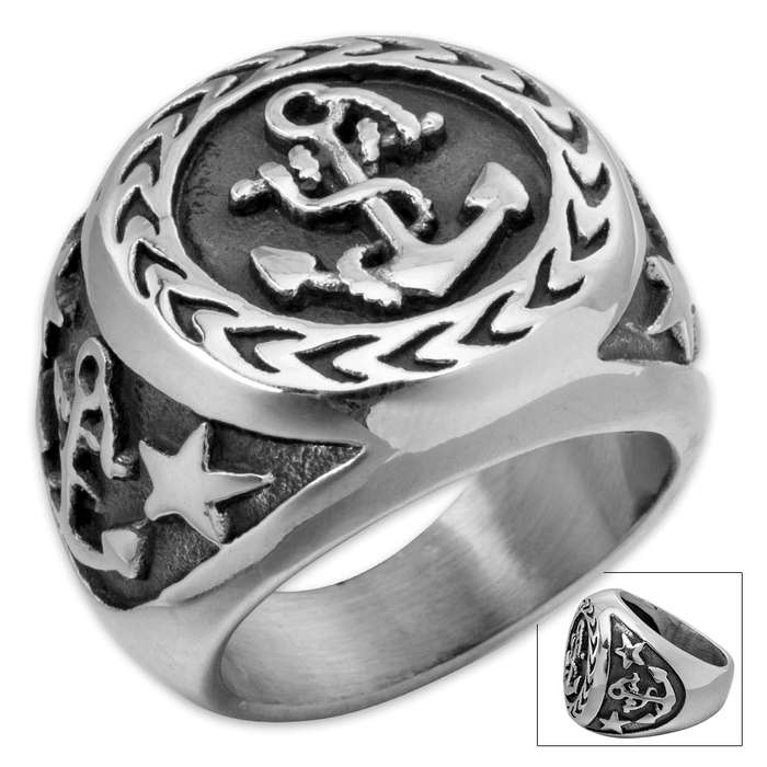 Anchor Shield Stainless Steel Men's Ring