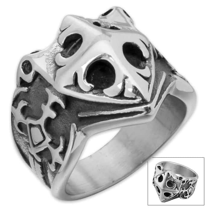 Tsunami Cross Stainless Steel Men's Ring