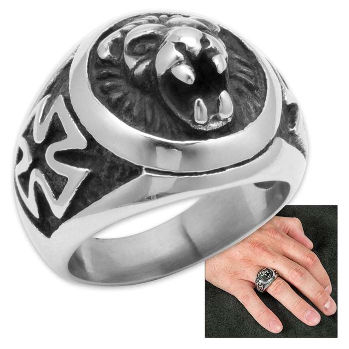 Lion And Cross Ring