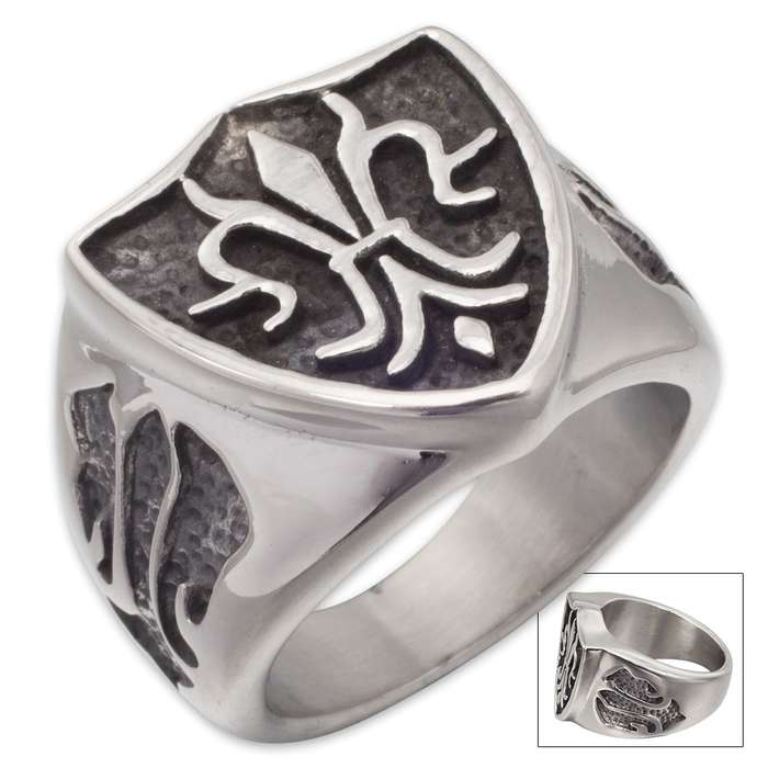 Shield of Flames Stainless Steel Men's Ring