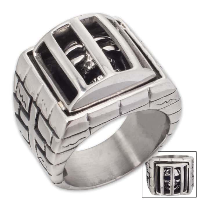 Skull Prisoner Stainless Steel Men's Ring