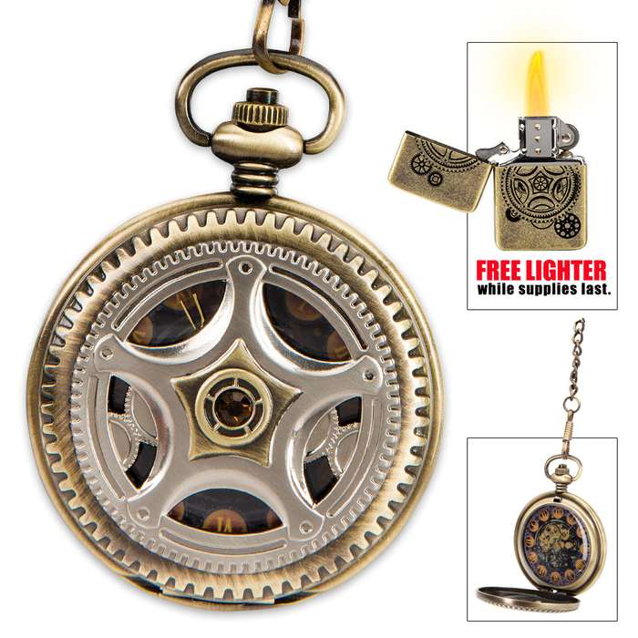 """Kraken """"Steam Aeterna"""" Timepiece - Exclusive Steampunk Pocket Watch in Gift Tin - Free Brass Lighter"""