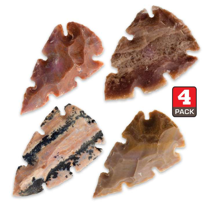 Multi-Notched Native Arrowheads - Four-Pack