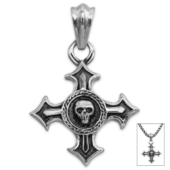 Wreathed Skull Cross Pendant on Chain - Stainless Steel Necklace