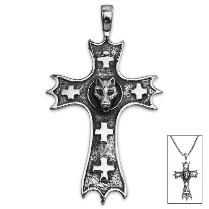 Bat Head Classic Cross Pendant on Chain - Stainless Steel Necklace