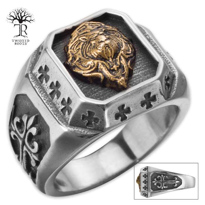 Twisted Roots Royal Lion Medallion Ring