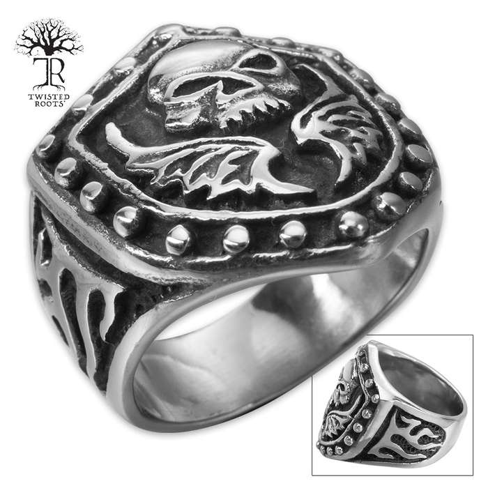 Twisted Roots Dark Angel Stainless Steel Men's Ring