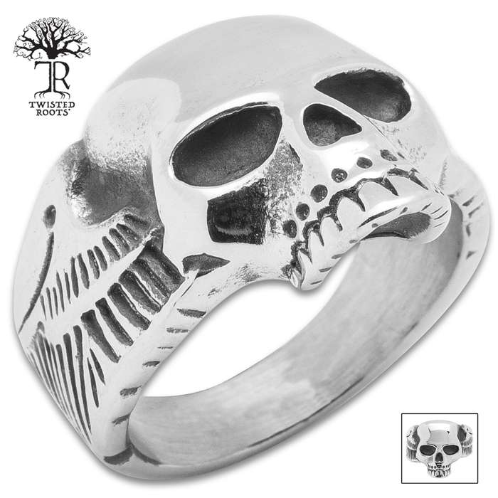 Twisted Roots Winged Skull Ring