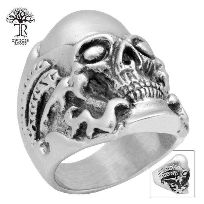 Twisted Roots Yellow Poison Skull Ring