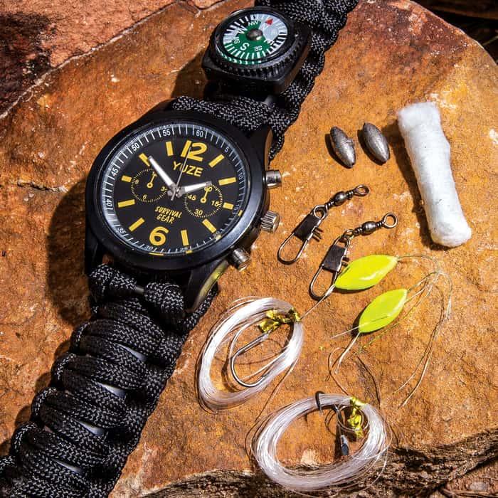 Elite Forces Survival Paracord Watch - Fire Starter, Emergency Whistle, Compass, Nine-Piece Fishing Kit, Quartz Movement