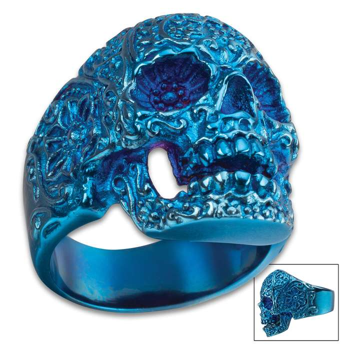 Blue Sugar Skull Ring - Crafted Of Stainless Steel, Remarkable Detail, Corrosion Resistant - Available In Sizes 9-12