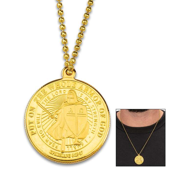 """Armor Of God Coin Necklace - Quality Metal Alloy Construction, Intricately Detailed Embossed Design, 10"""" Ball Chain - Pendant Diameter 1"""""""