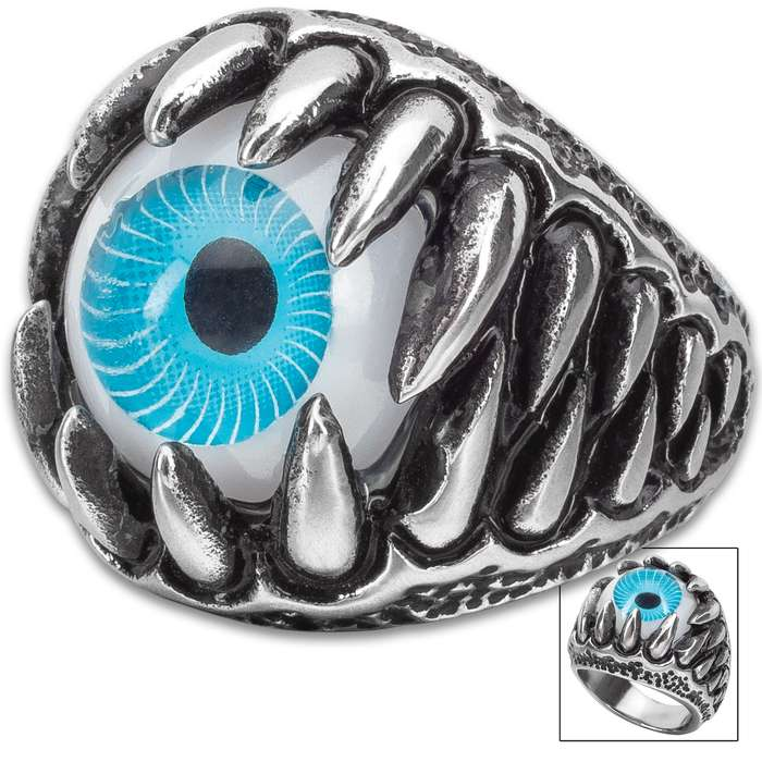 The Blue Ojo Fang Ring - Stainless Steel Construction, Remarkable Detail, Corrosion Resistant - Available In Sizes 9-12