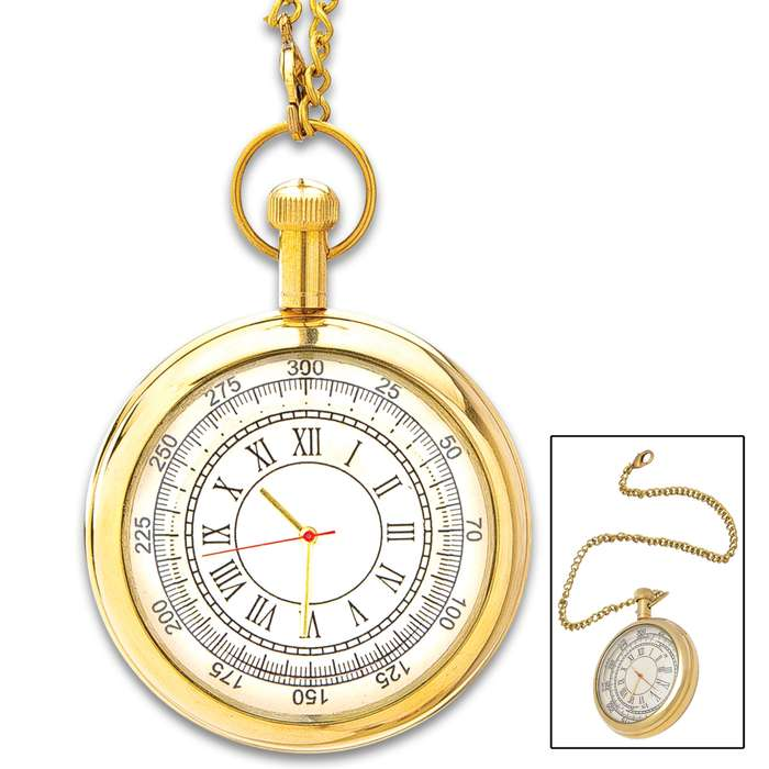 """Antique Replica Brass Pocket Watch And Chain - Solid Brass Construction, High-Polish Finish, Roman Numerals - Diameter 2"""""""