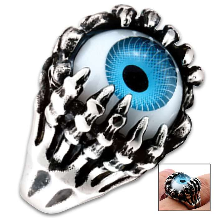 Beautifully cast and extraordinarily detailed, this ring features the Evil Eye framed by wickedly sharp claws