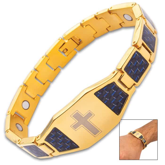 "Gold And Blue Carbon Fiber Cross Bracelet - 3Cr13 Stainless Steel, Health Element Magnets Inside - Length 8 1/2"""