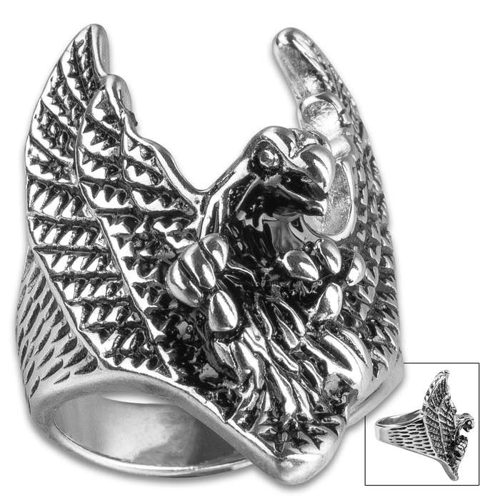 Attacking Eagle Men's Ring - High-Quality Stainless Steel Construction, Intricate Detail, Lifetime Of Wear, Available In Sizes 9-12