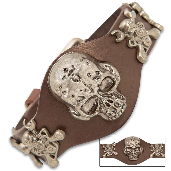 """Steampunk Skull Bracelet With Buckle - Crafted Of Leather, Stainless Steel Accents, Belt Buckle Closure - Dimensions 10""""x 1 1/2"""""""