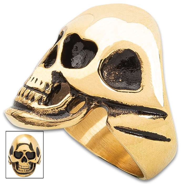 Golden Skull Ring - Gold Stainless Steel Construction, Remarkable Detail, Corrosion Resistant - Available In Sizes 9-12