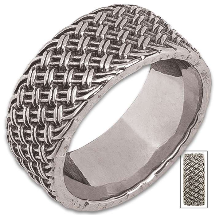 Basket Weave Ring - Sterling Silver Construction, Remarkable Detail, Corrosion Resistant - Available In Sizes 9-12
