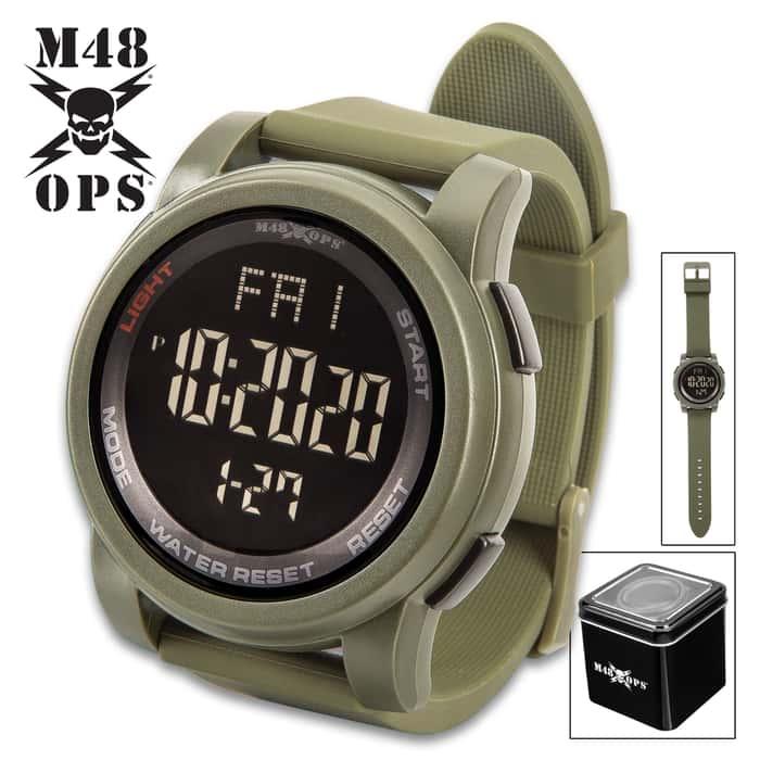 M48 OPS Triggerman Military Digital Watch - Olive Drab, Water-Resistant, EL Light Display, TPU Case, Silica Gel Band, Chronograph