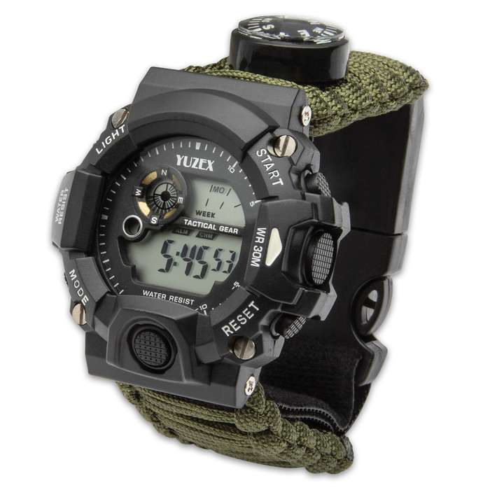 The Multi-Function Watch With Paracord Strap is a great outdoor activity watch with its variety of survival features