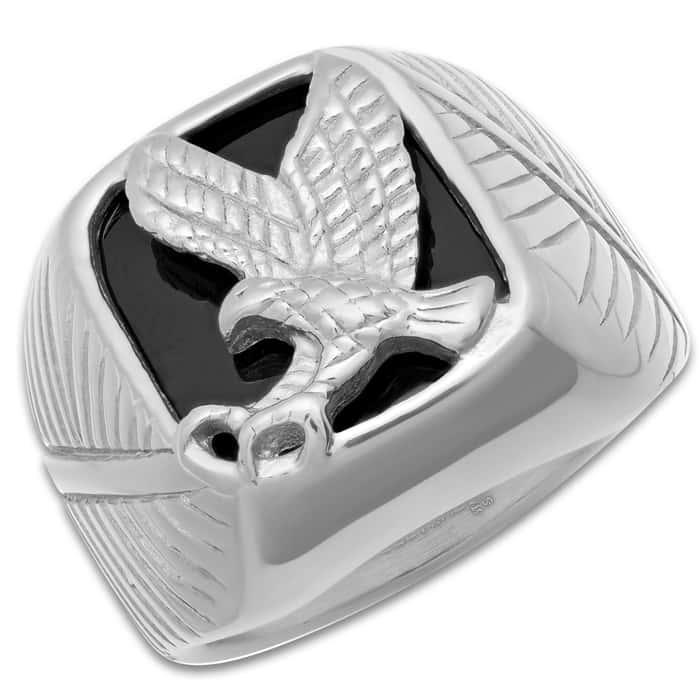 Eagle Emblem Stainless Steel Men's Ring