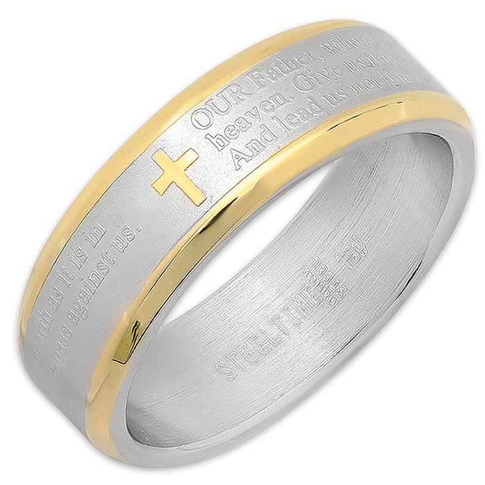 Men's Prayer Ring - Two Toned With Gold Trim