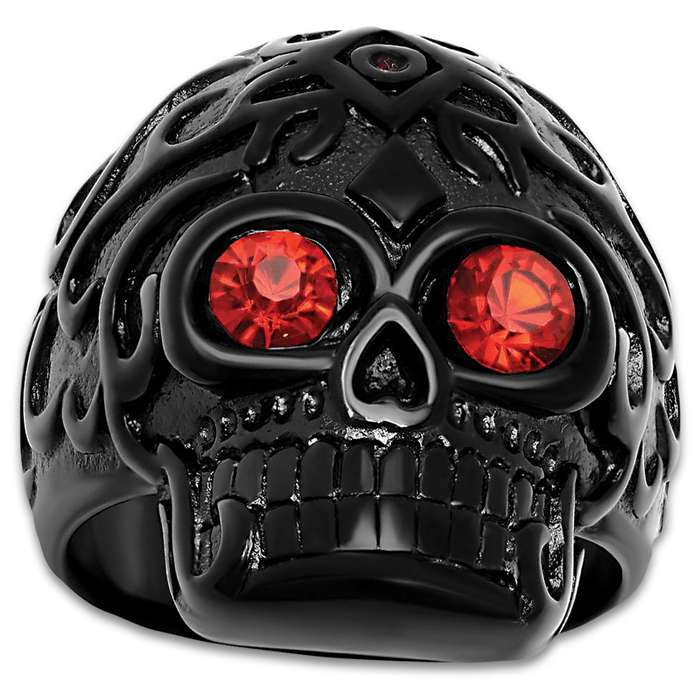 Black Skull Ring With Ruby Red Eyes - Ion-Plated Stainless Steel Construction, Faux Jewels, Scratch-Resistant, Available in Sizes 9-12