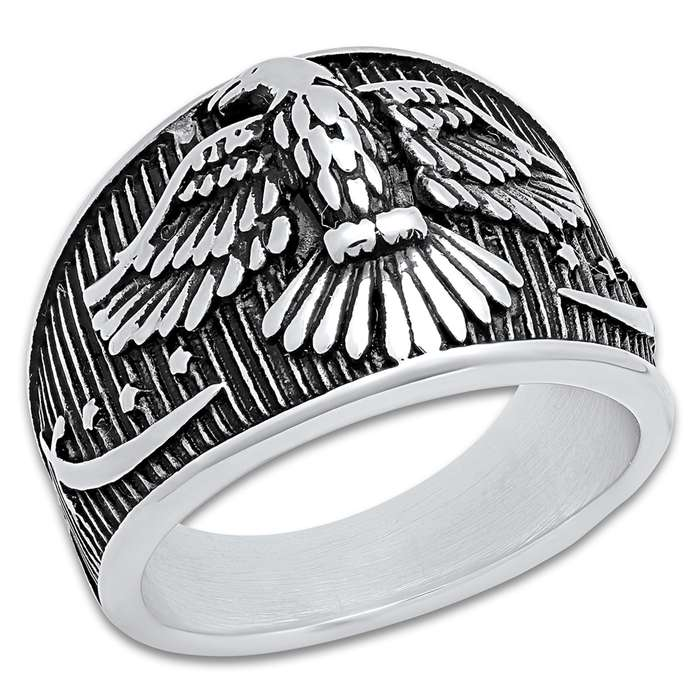 Men's Stainless Steel American Eagle And Stars Patriot Ring - Lifetime Of Wear, Highly Detailed, High-Quality