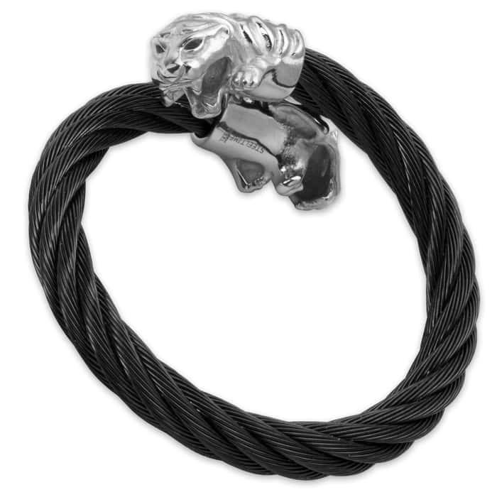 Men's Stainless Steel Jaguar Bracelet with Black Cable Band