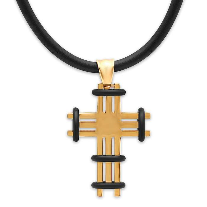 18k Gold-Plated Cross with Black Accents on Black Rubber Necklace
