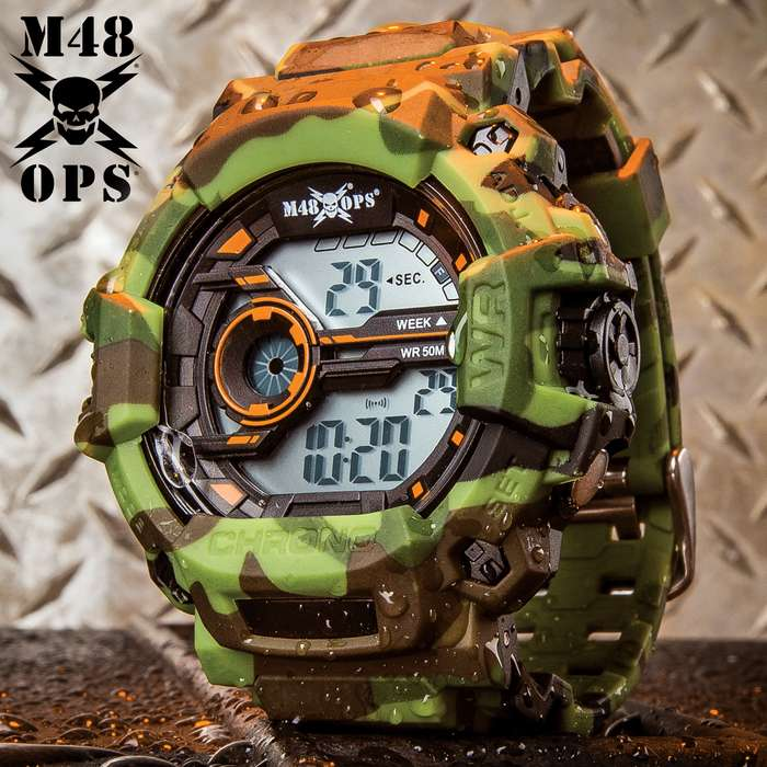 M48 OPS Subterfuge Digital Watch - 50M Water-Resistant, Shock Resistant, EL Backlight, Chronograph, Auto Date, Camouflage