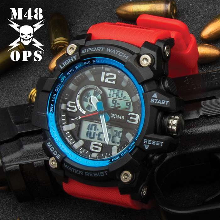 This red with blue accent, digital watch has loads of features including 12/24 hour time, auto calendar, alarms and chronograph