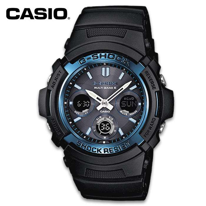 Packed with functions, this incredible sport watch is the only watch that you need on your arm! The Casio Black G-Shock Tough Solar Sport Watch features multi-band atomic timekeeping