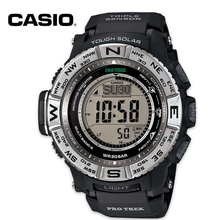 Whether you're in the air, on the sea or on land, the Casio Pro Trek Solar Atomic Triple Sensor Watch is your go-to timepiece