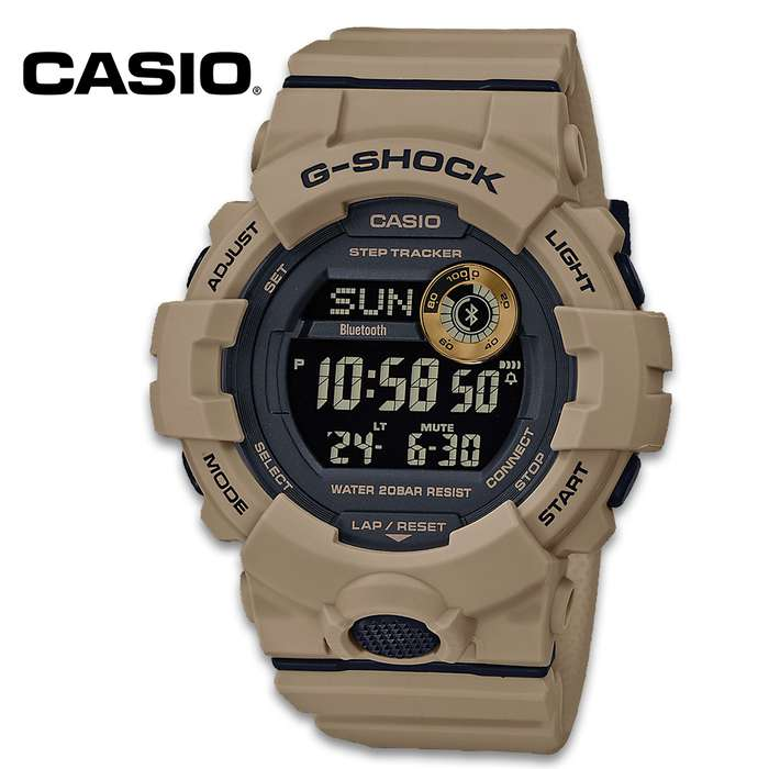 Casio G-Shock Tan Power Trainer - Mobile Link, Tough Resin Construction, Water-Resistant 200M, LED Backlight