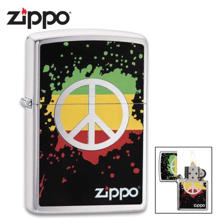 Zippo brushed chrome peace sign on a splash background lighter