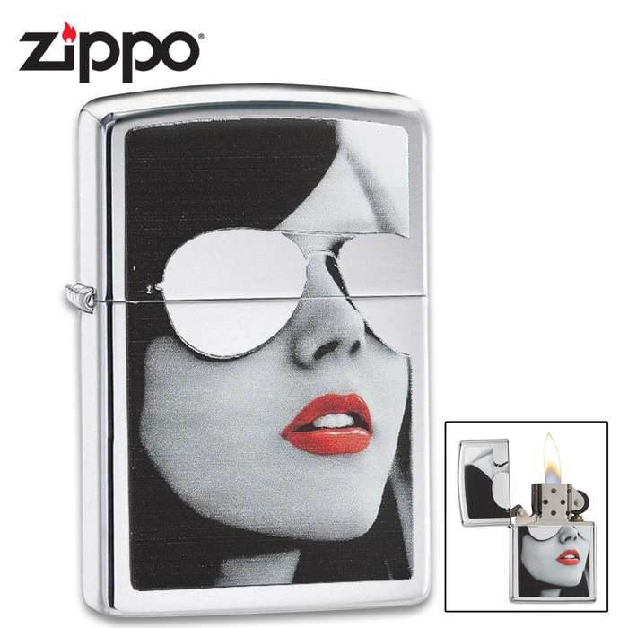 Zippo polished chrome lighter wiht a woman with sunglasses