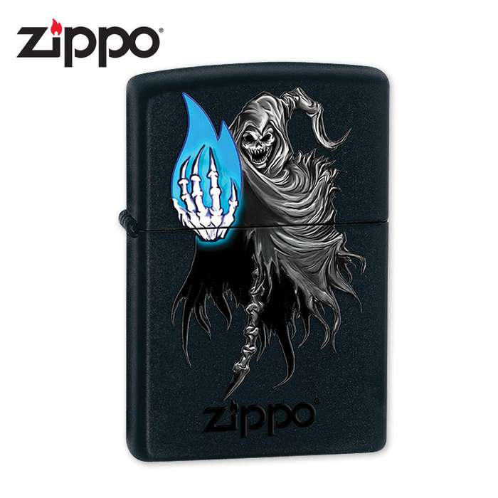 Zippo Ghostly Flame Black Matte Lighter