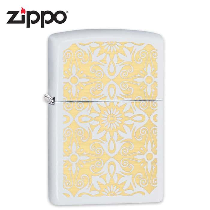 Zippo White Matte Gold Scrollwork Windproof Lighter