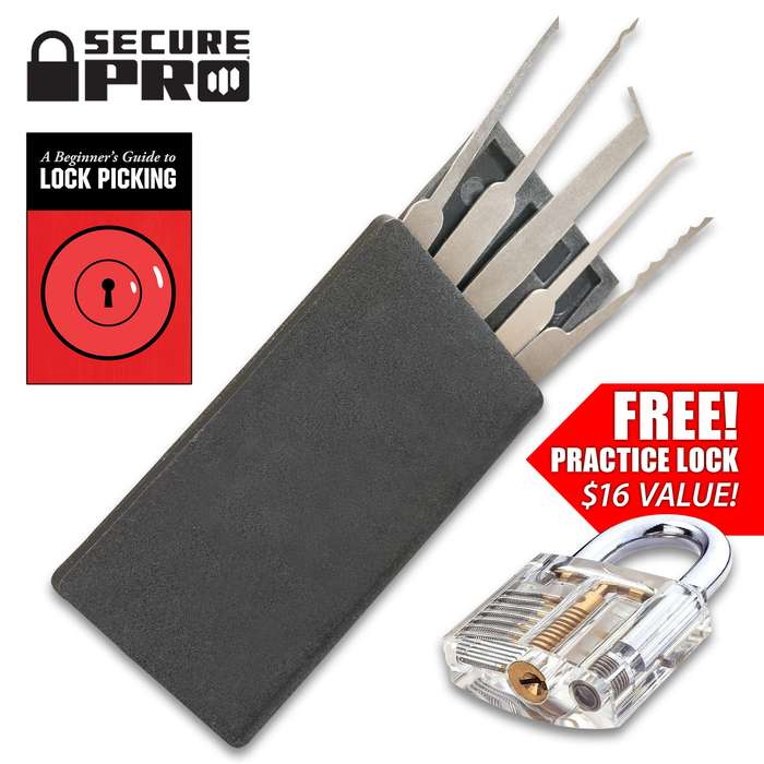 Secure Pro Credit Card-Sized Lock Picking Set And FREE Practice Padlock - Solid Metal Picks, Instruction Manual, Clear Lock, Two Master Keys