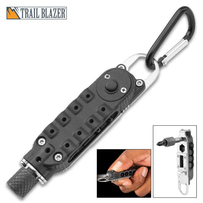 """Trailblazer Torque Driver Multi-Tool With Flashlight - Four Hex Bits, Wrenches, Bottle Opener, Angle Driver, Carabiner - Length 3 3/4"""""""