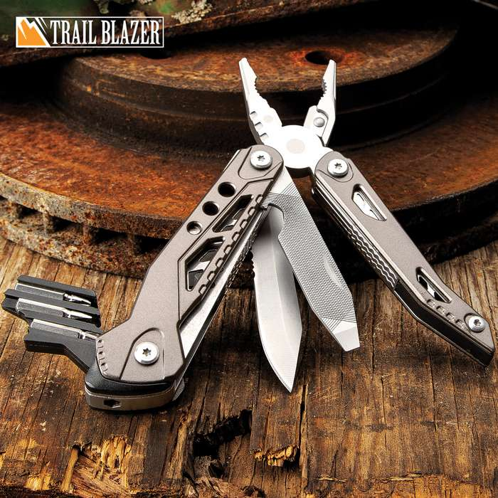 Trailblazer Multi-Tool With Bit Set - 3Cr13 Stainless Steel Blade And File, Screwdriver, Grey Aluminum Handle, Pocket Clip